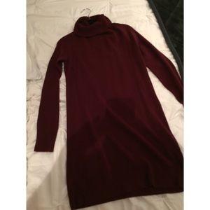 Burgundy maroon cowel/turtle neck sweater dress